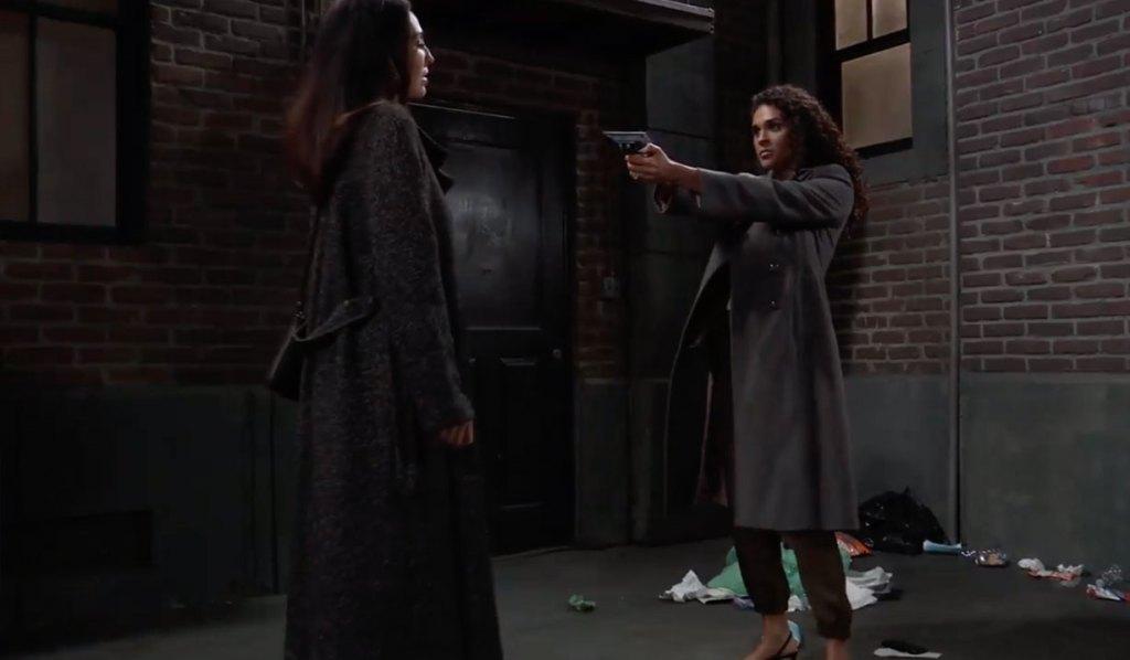 Jordan holds a gun on Harmony on General Hospital