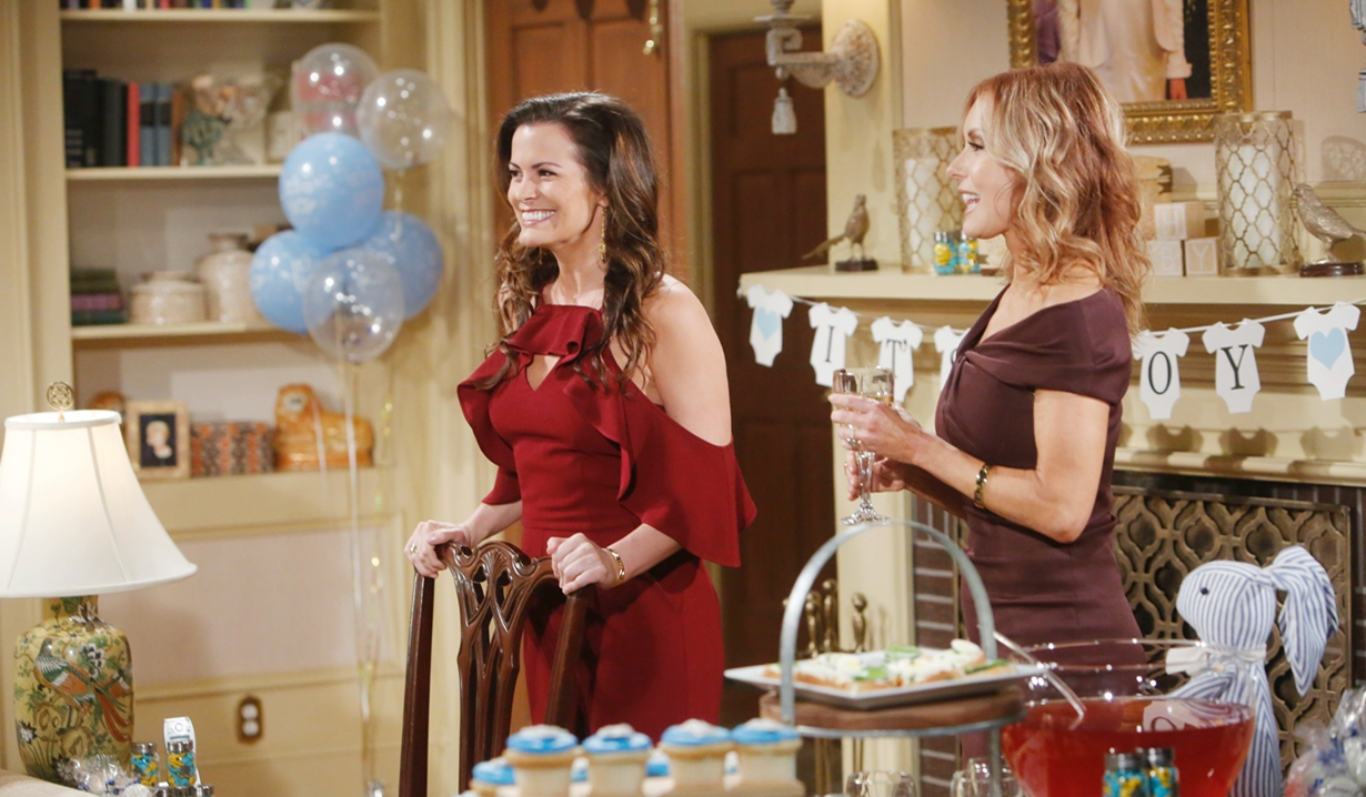 Chelsea, Lauren smile shower Young and Restless