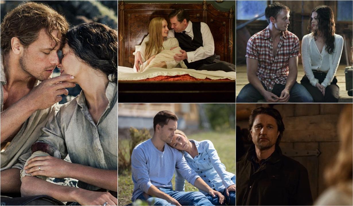 Downton Abbey, Hart of Dixie, Heartland, Outlander, Virgin River collage