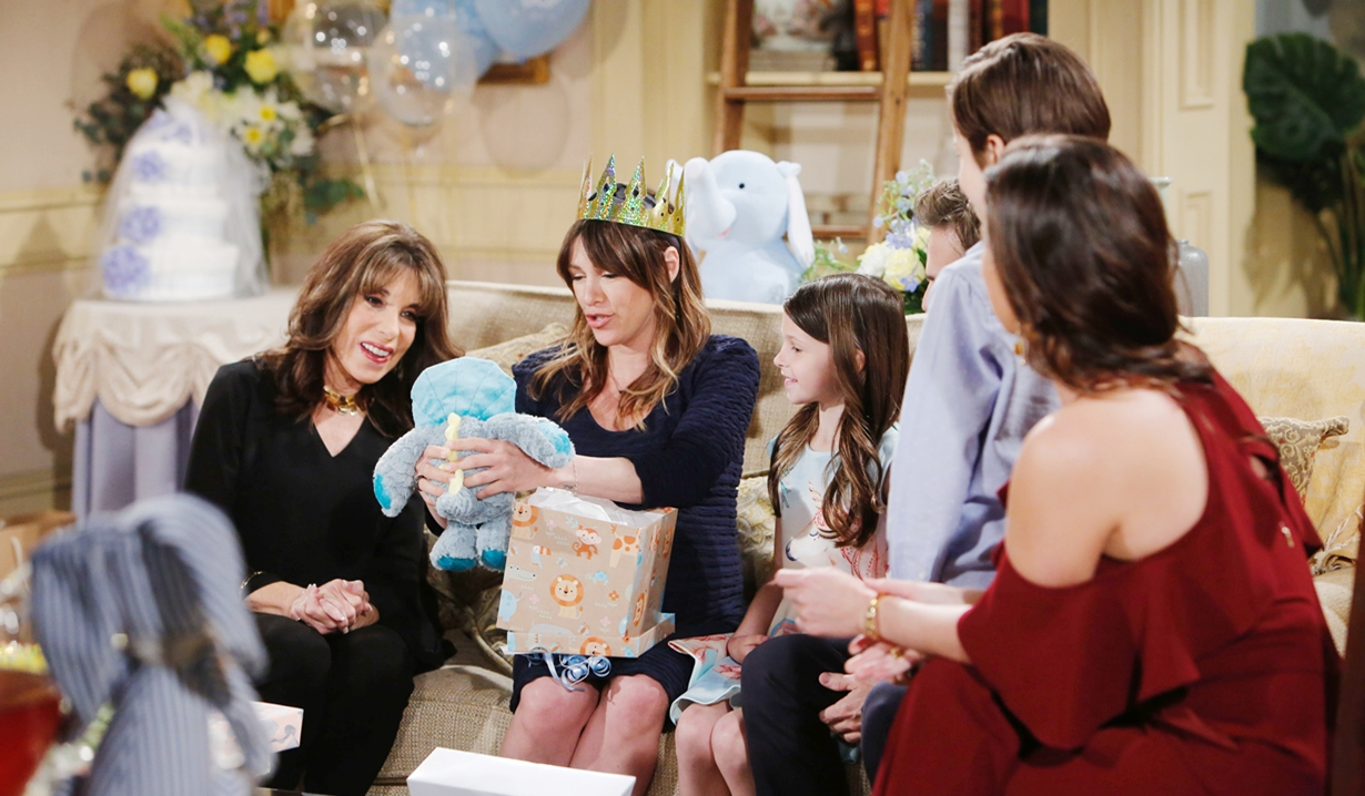 Esther, Chloe, Kevin, Bella, Connor, Chelsea shower Young and Restless