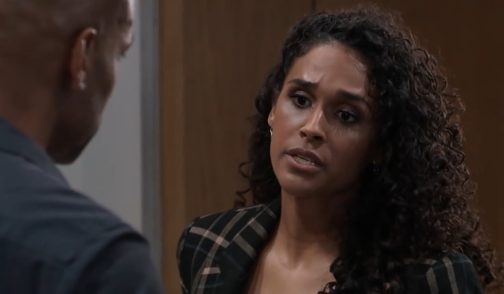 Jordan talks to Curtis about Cyrus at her office General Hospital
