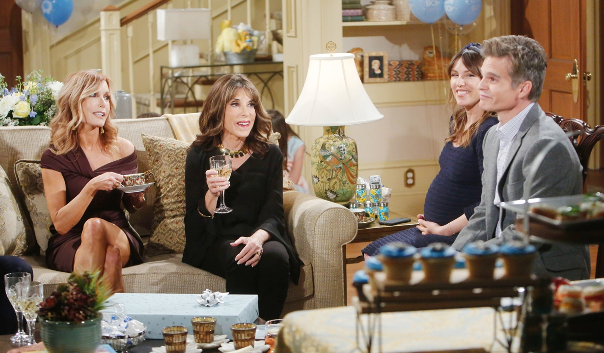 Lauren, Esther, Chloe, Kevin shower Young and Restless