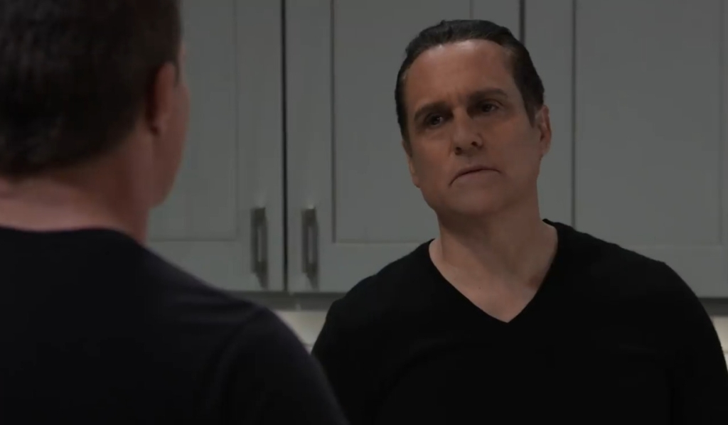 Jason and Sonny talk Cyrus in Corinthos kitchen General Hospital