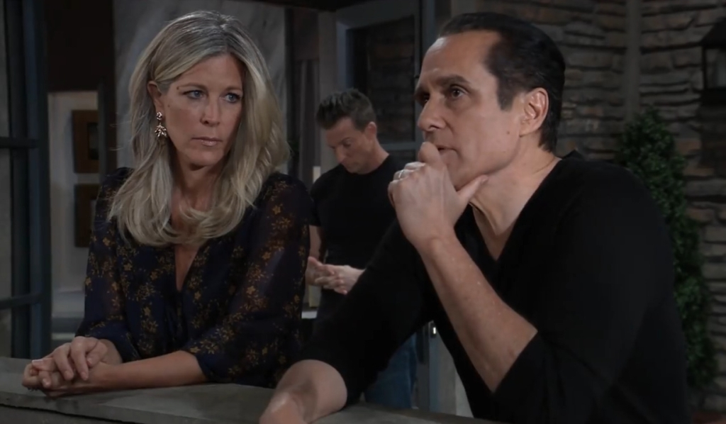 Sonny vents to Carly about Mike on Cointhos patio General Hospital
