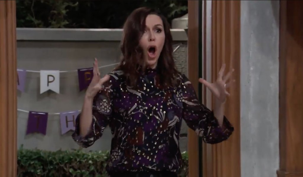 Anna is shocked by something at Violet's party on General Hospital