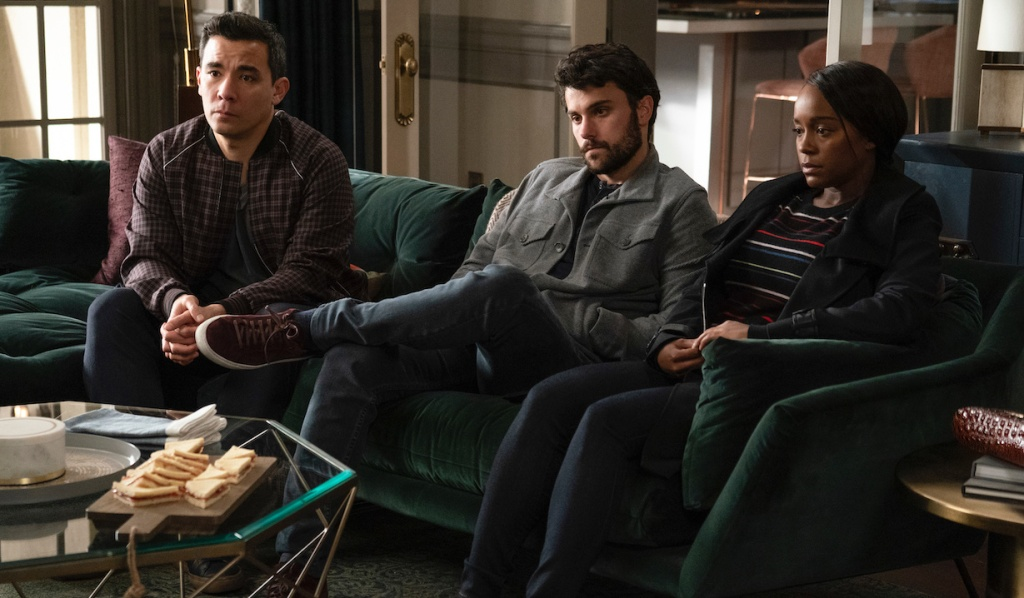 Oliver, Connor, and Michaela face Annalise on HTGAWM