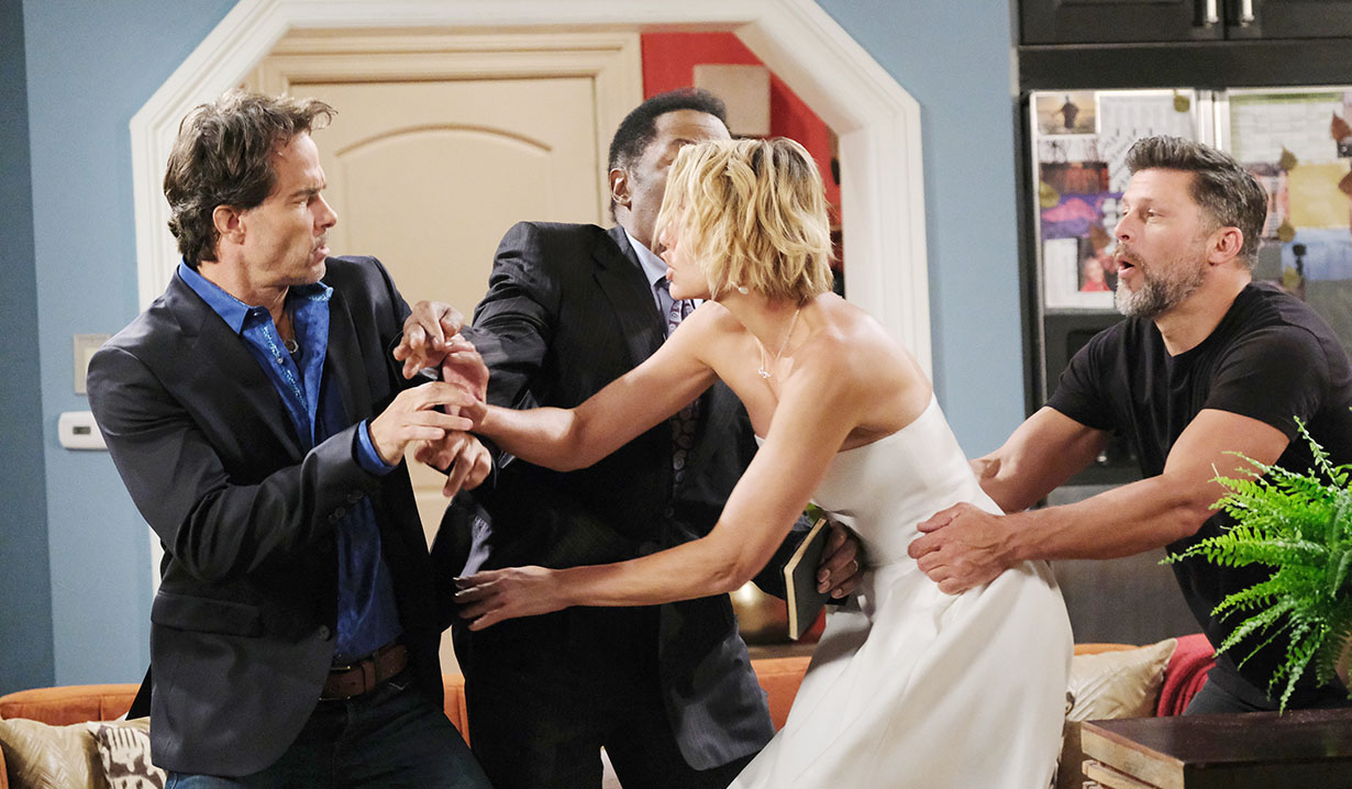 fight breaks out during Nic and dan wedding april fools days of our lives