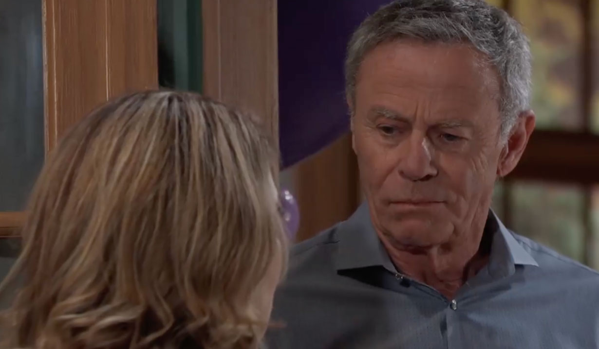 Robert and Olivia chat at Violet's party on General Hospital
