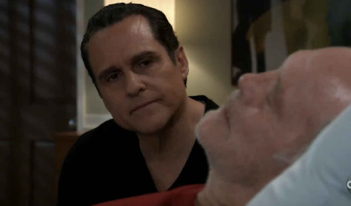 Sonny sits with his father at Turning Woods on General Hospital