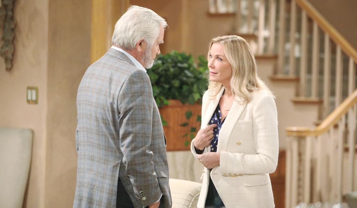 Eric, Brooke debate in living room Bold and Beautiful