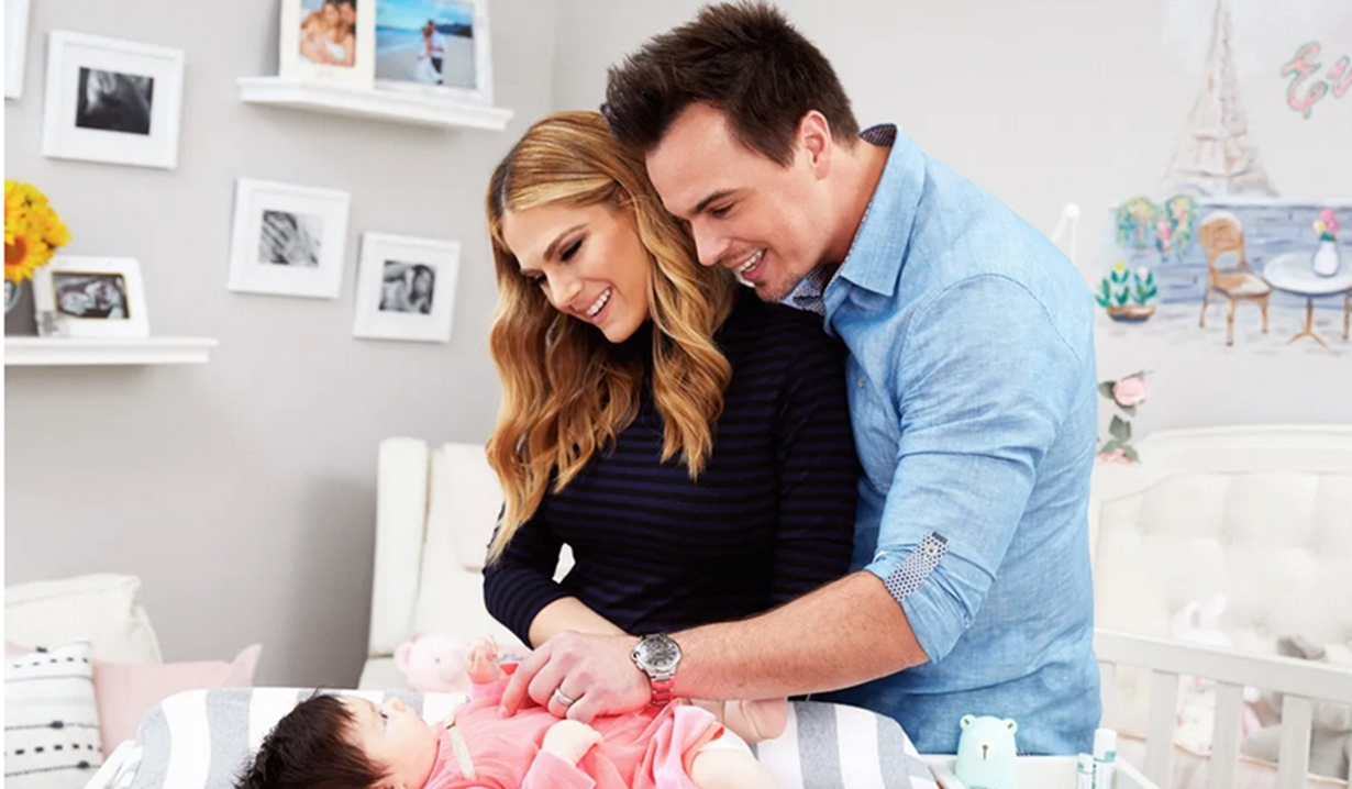 Everleigh, changing table with Darin Brooks, Kelly Kruger Bold and Beautiful, Young and Restless