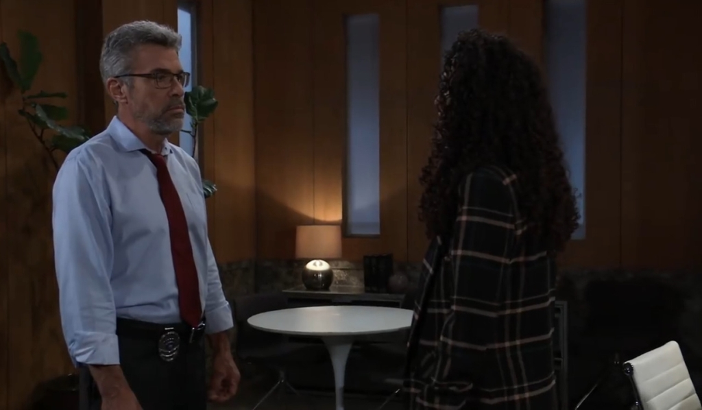 Jordan asks Mac about his theory in her office General Hospital