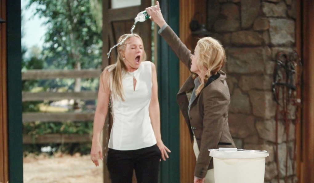 Sharon, Nikki water stables Young and Restless