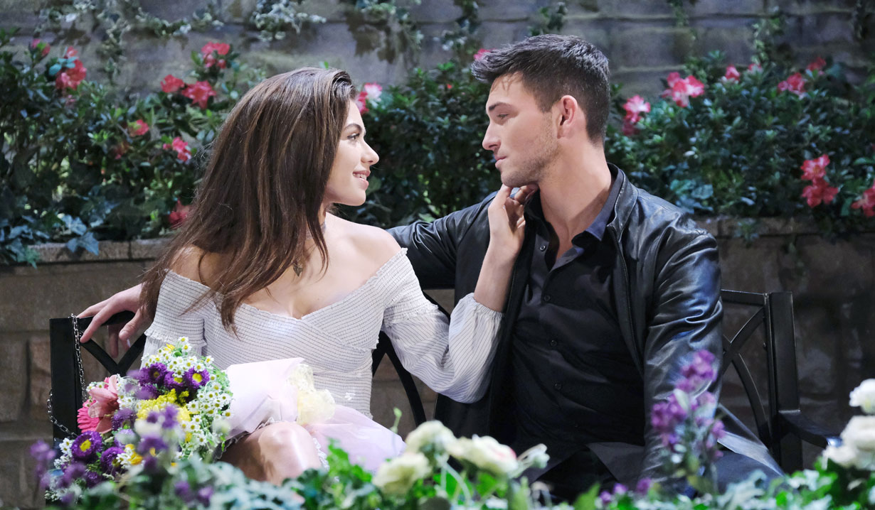 ben and ciara on a parkbench in the square days of our lives
