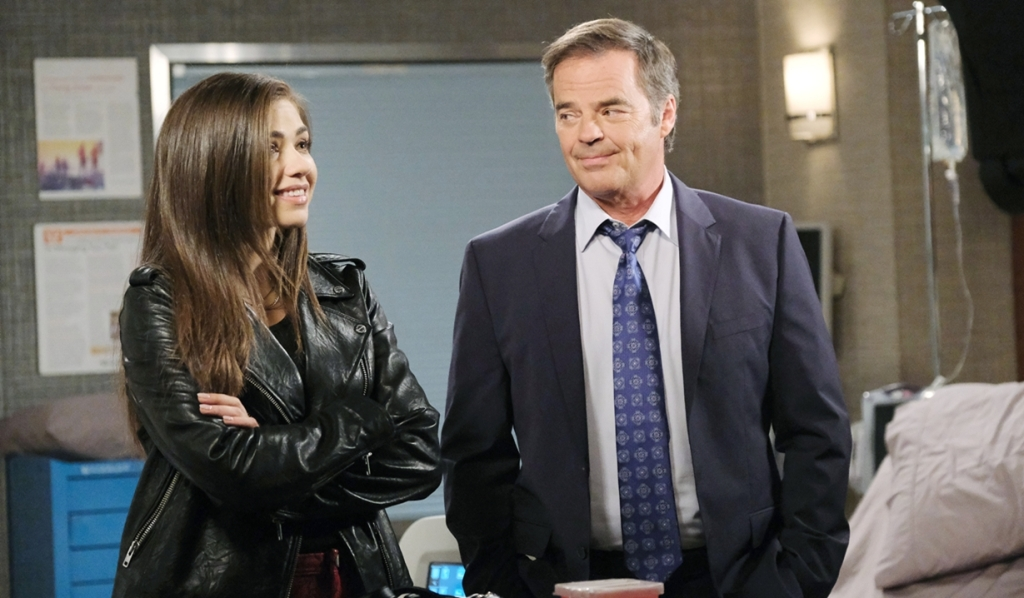 Ciara, Justin in Victor's hospital room Days of our Lives