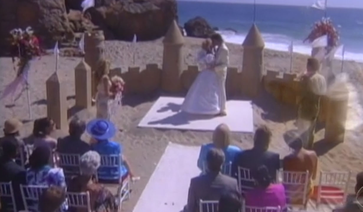 guests watch ridge and brooke's first kiss as husband and wife 1994 wedding bold and beautiful