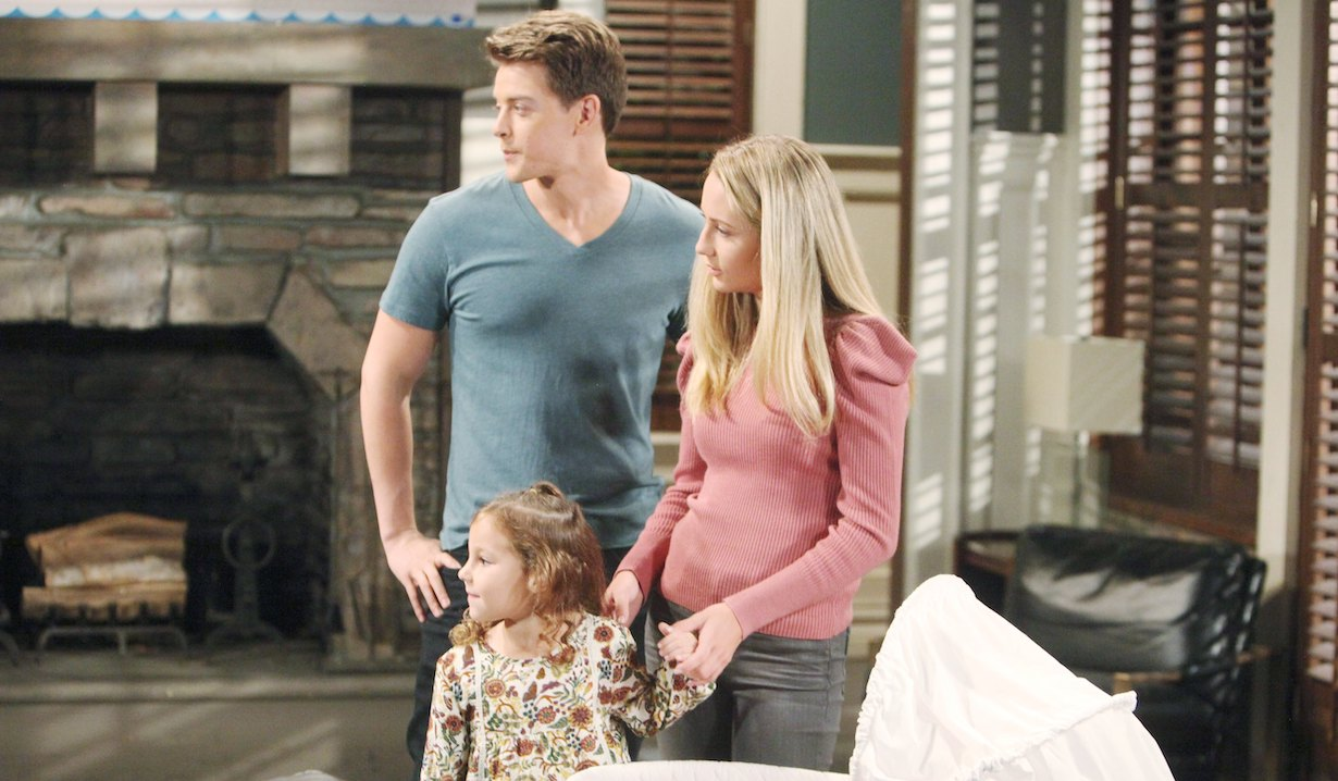 Joss, Michael, Avery standing near Donna's carriage on General Hospital