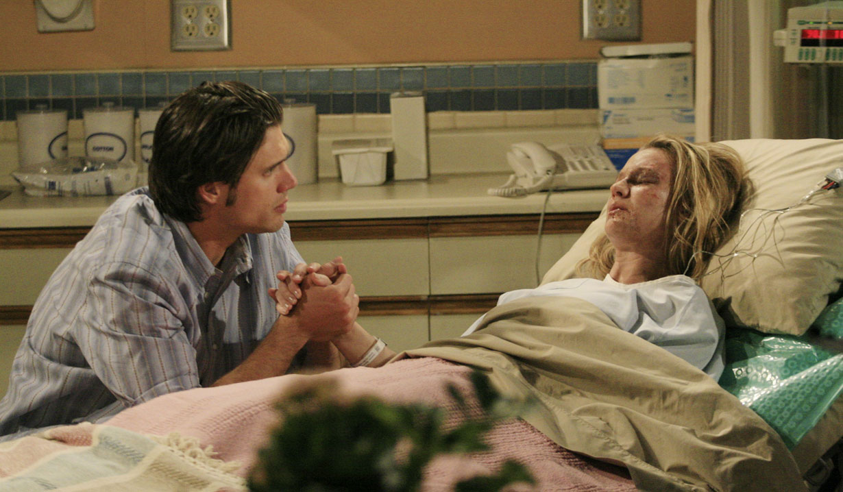 nick sits at sharon's hospital bedside young and the restless