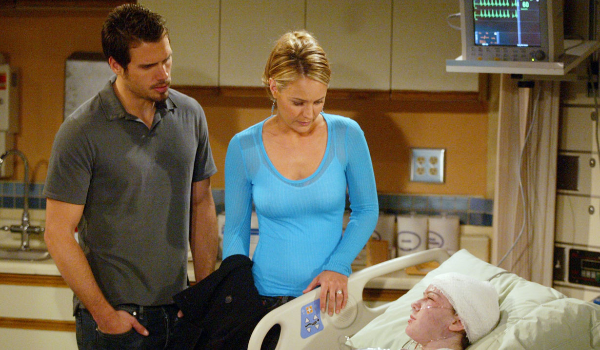 sharon and nick at casssie's hospital bedside young and the restless