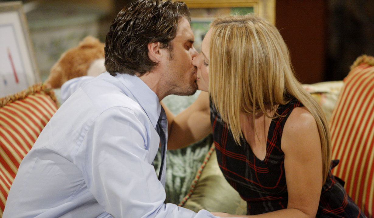 nick and sharon kiss at the ranch young and the restless