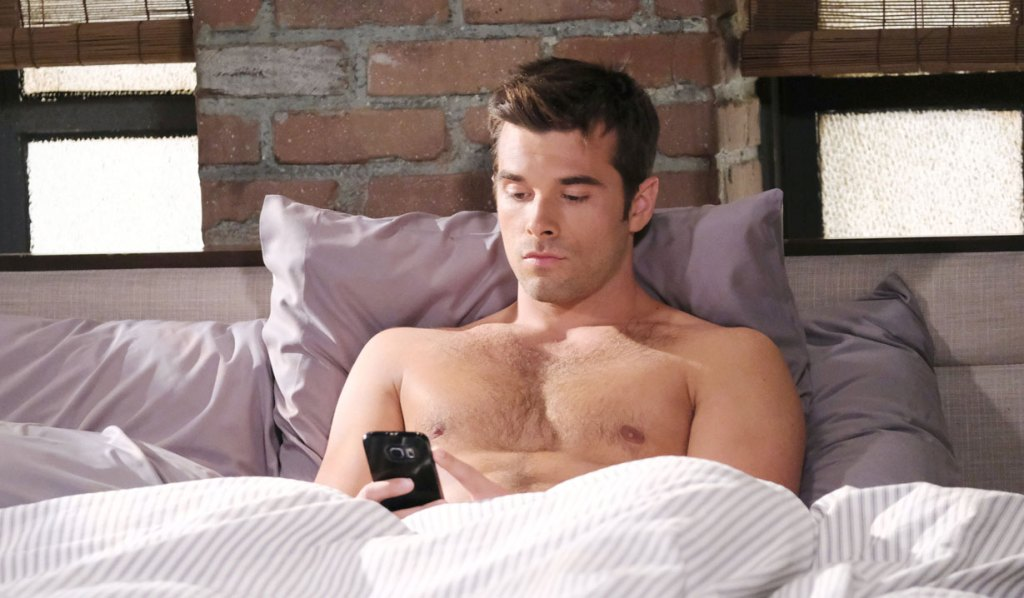 Sexy shirtless Chase in bed on GH