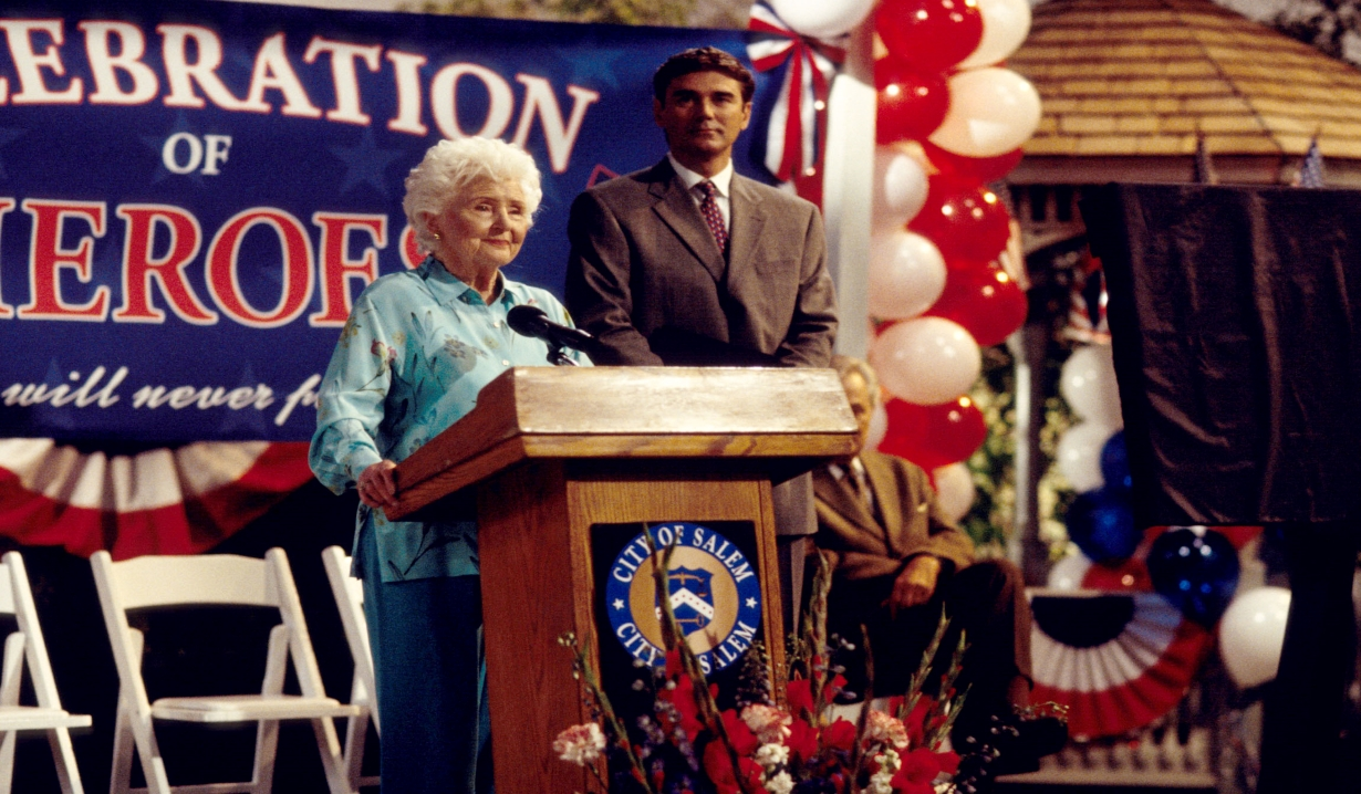 Alice Horton giving a speech in Salem town square Days of our Lives