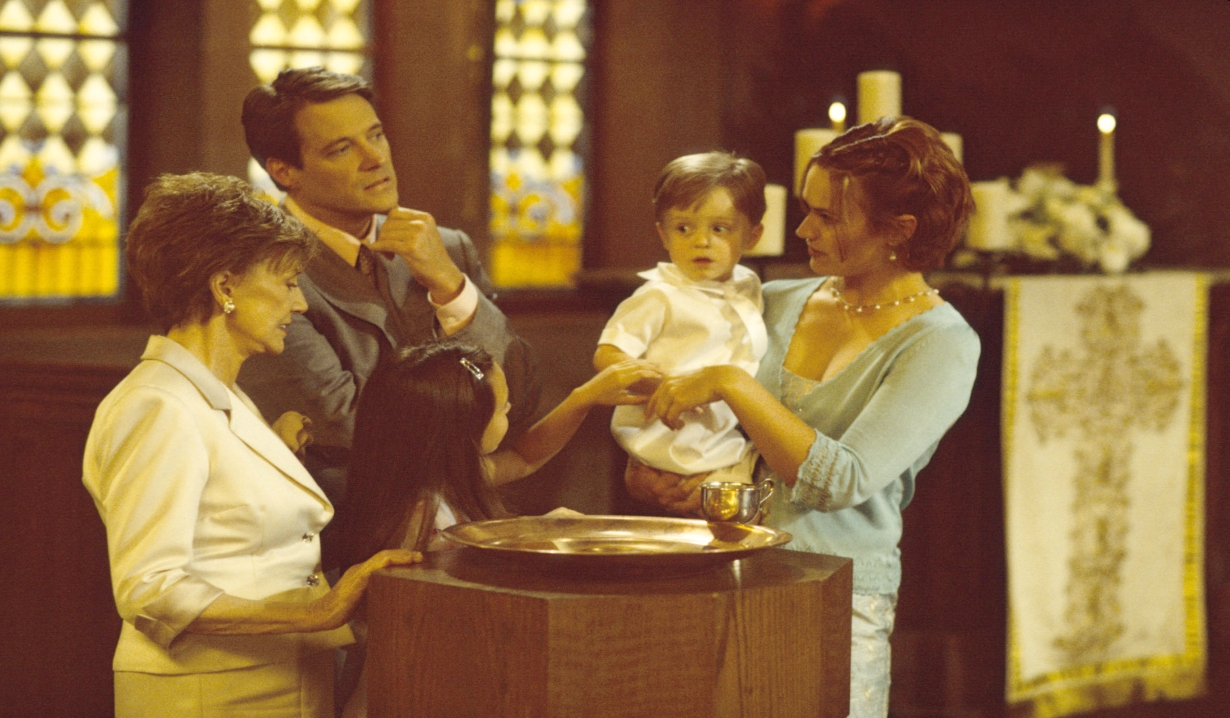 Caroline, Jack and Melissa at a baptism Days of our Lives