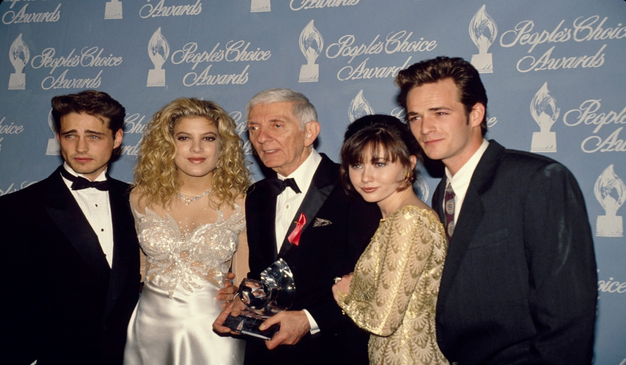 Jason Priestley, Tori Spelling, Aaron Spelling, Shannen Doherty, and Luke Perry