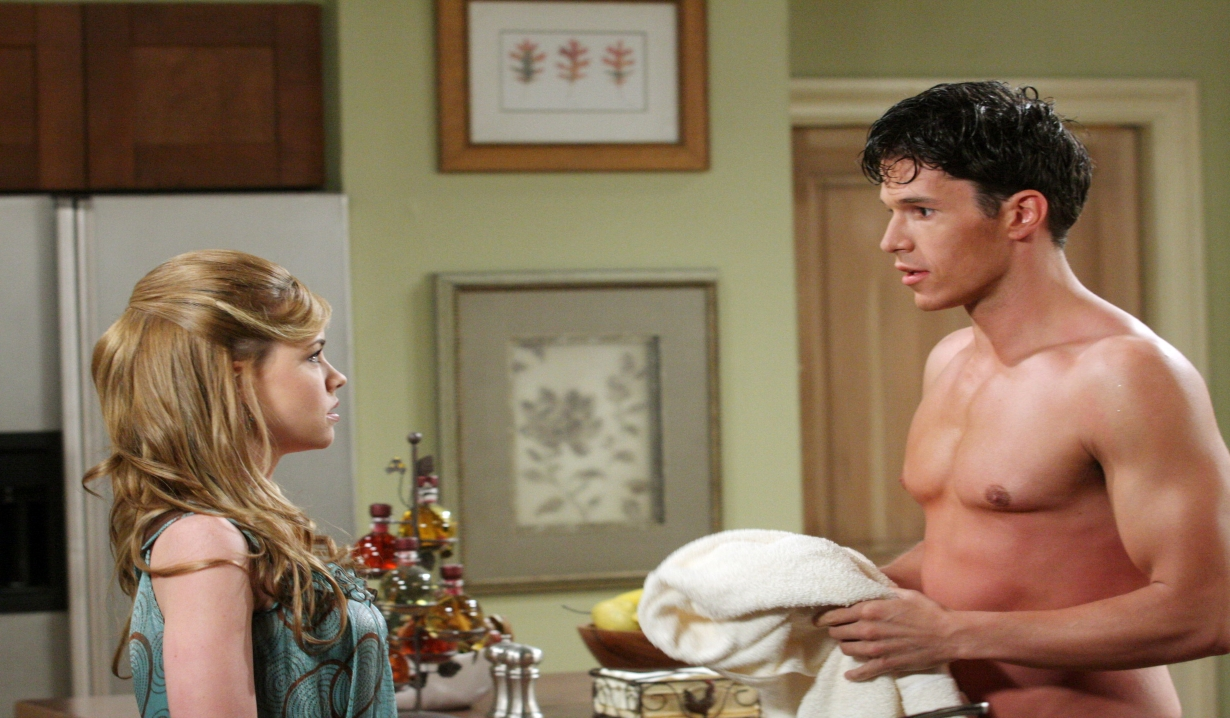 Melanie and a shirtless Nathan Days of our Lives