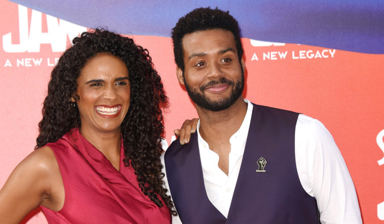 """Briana Nicole Henry, Kris Bowers attends the premiere of Warner Bros """"Space Jam: A New Legacy"""" at Regal LA Live on July 12, 2021 in Los Angeles, California. Jill Johnson/jpistudios.com310-657-9661"""