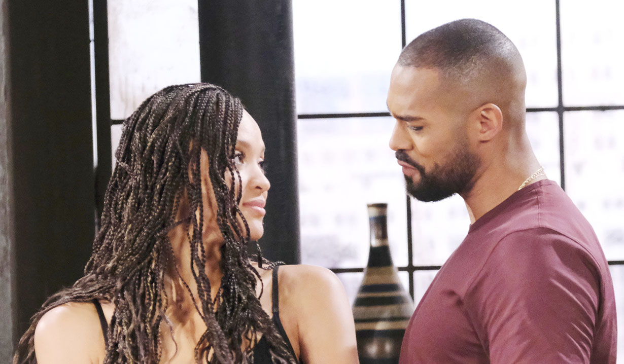Eli and Lani look lovingly at each other at their apartment on Days of Our Lives
