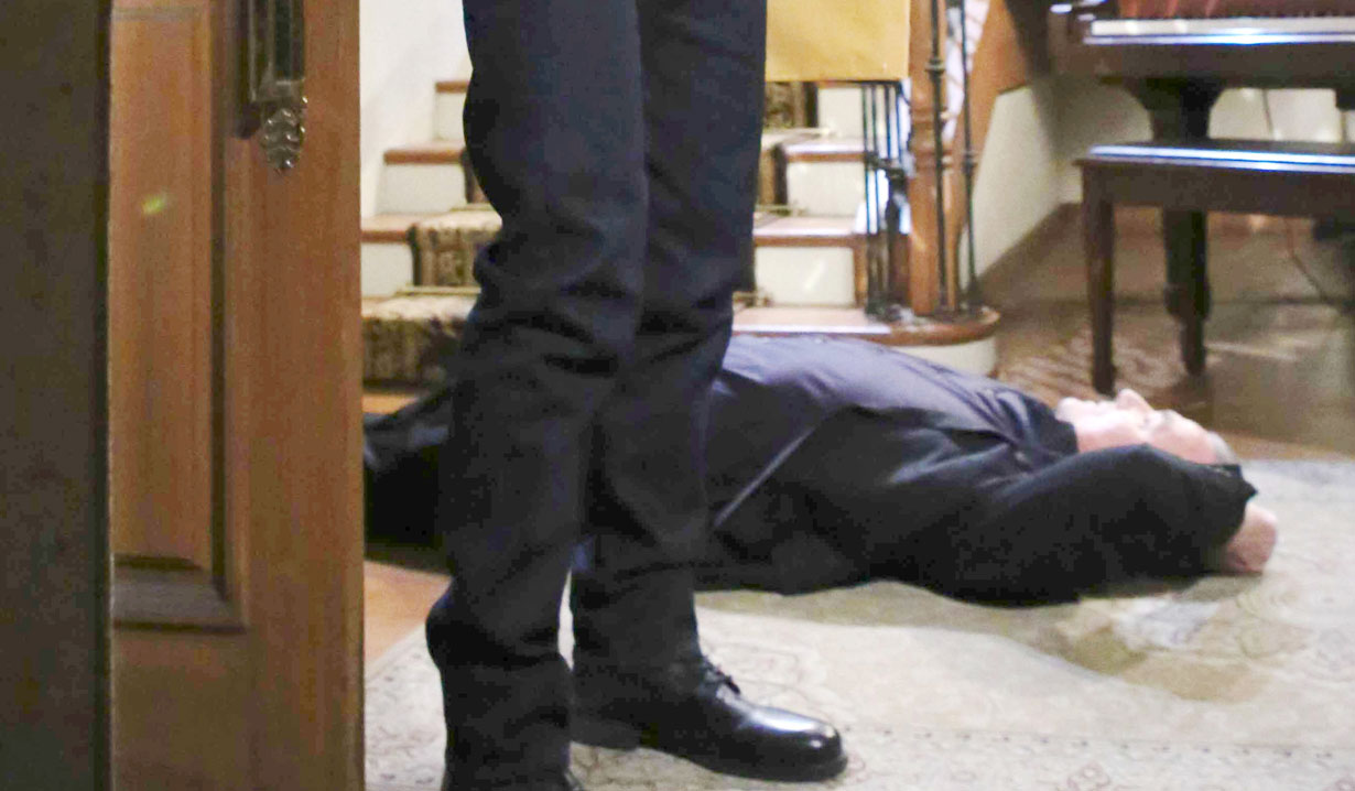 jt shoves victor down stairs Y&R