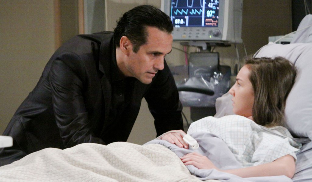 sonny visits kristina in hospital GH