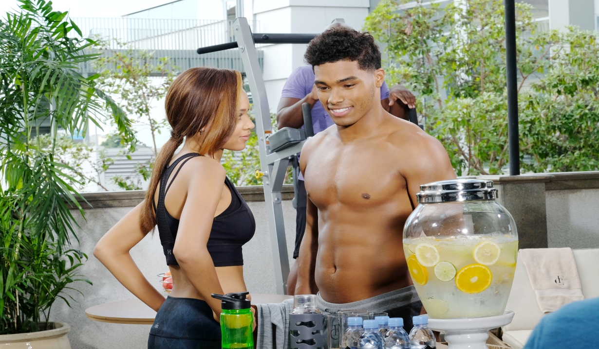 Zende and Nicole at the health club