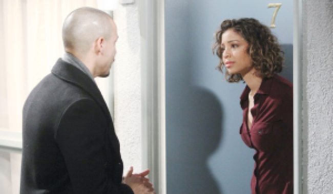 "Brytni Sarpy, Bryton James""The Young and the Restless"" Set CBS television City Los Angeles 02/14/19 © Howard Wise/jpistudios.com 310-657-9661 Episode # 11646 U.S. Airdate 03/18/19"