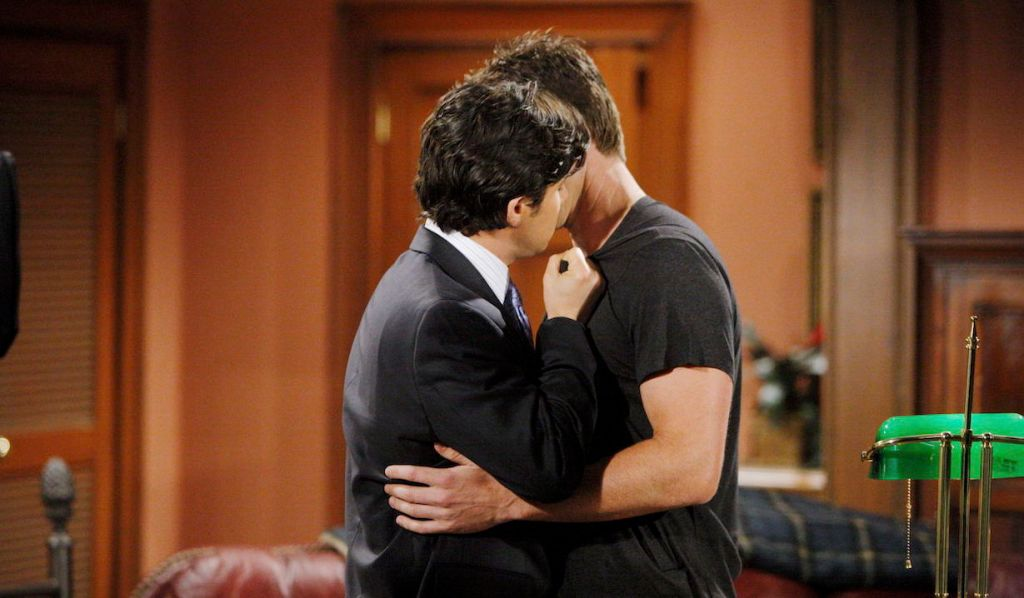 Rafe Torres and Adam Newman kiss on Young and Restless