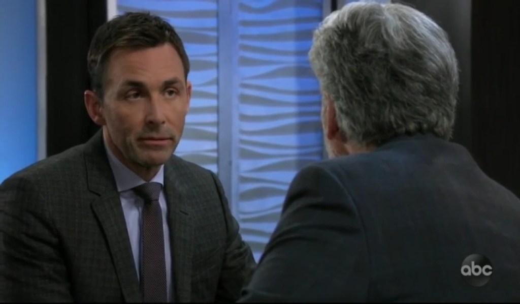 Valentin and Martin discuss Sam's stocks at Metro Court General Hospital