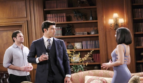 Shin, Jake and Gabi toast to deal at Casa DiMera Days of our Lives