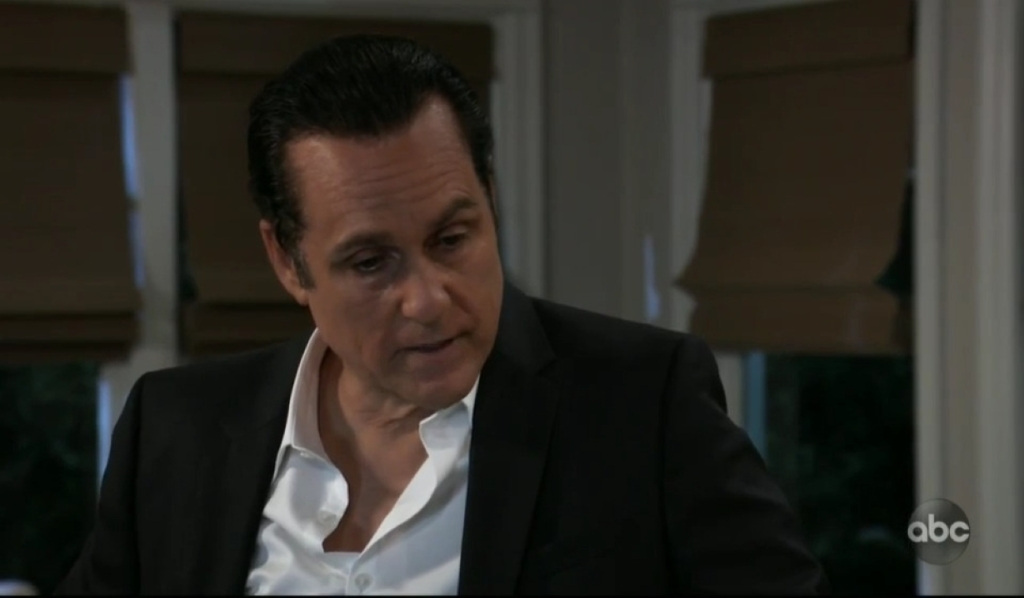 Sonny talks about Mike's condition in Corinthos kitchen General Hospital
