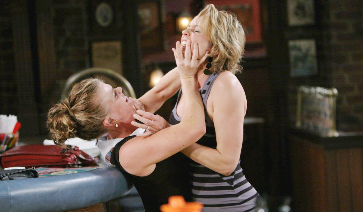 "Alison Sweeney, Arianne Zuker ""Days of our Lives"" cake fight hw"