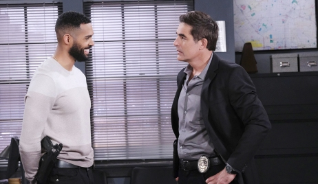 eli and rafe talk at spd Days of our Lives