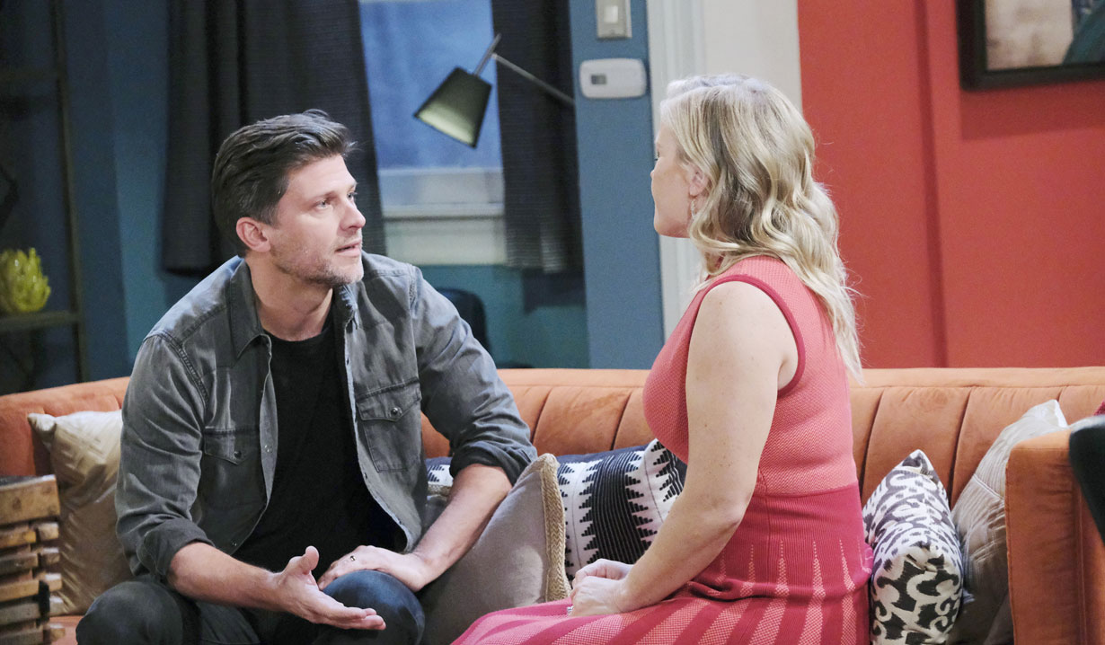 Eric talks with Sami at his apartment on Days of our Lives