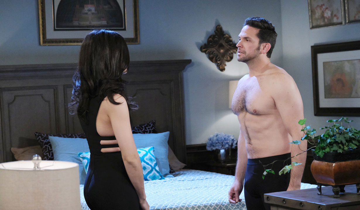 Gabi and Jake in his underwear on Days of our Lives