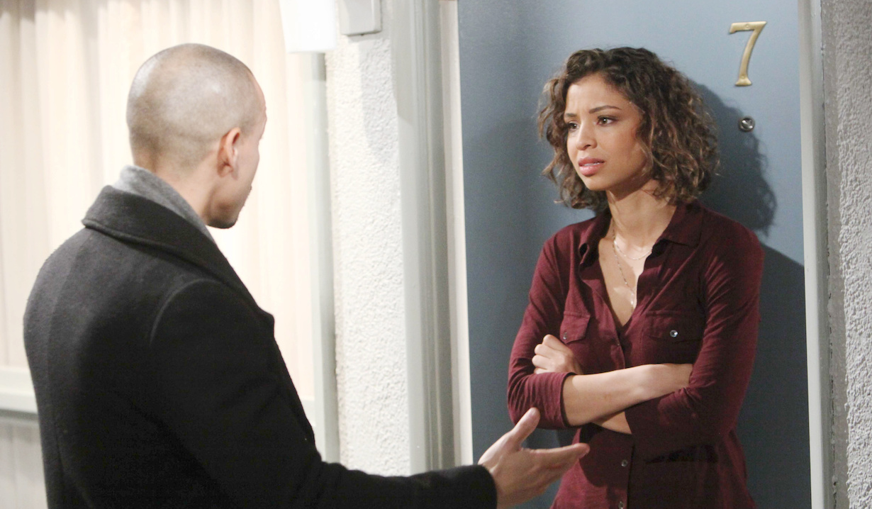 "Brytni Sarpy, Bryton James ""The Young and the Restless"" devon elena first meeting hw"