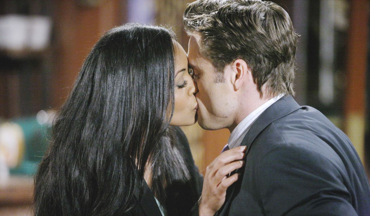 "Mishael Morgan, Daniel Goddard ""The Young and the Restless"" hilary cane kiss ss"