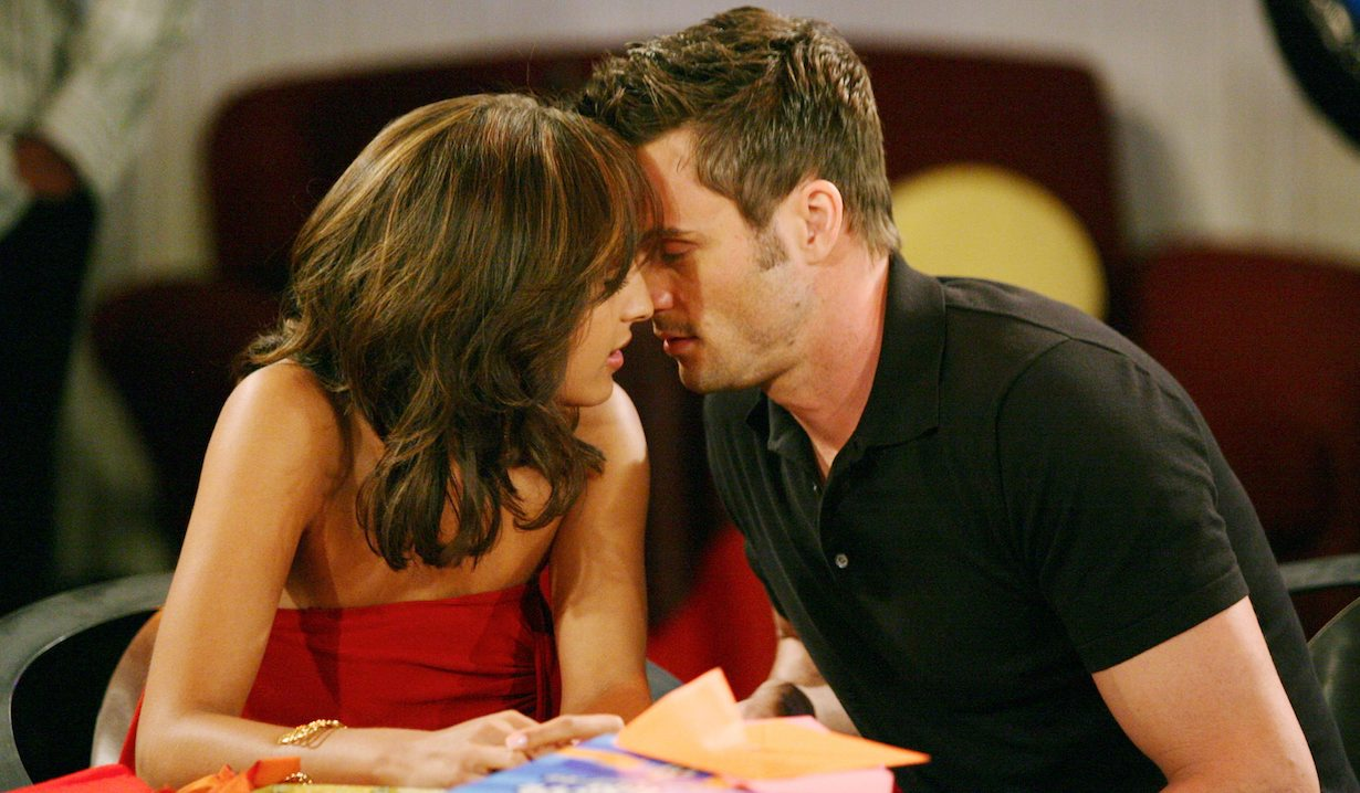 "Christel Khalil, Daniel Goddard ""The Young and the Restless"" cane lily kiss am"
