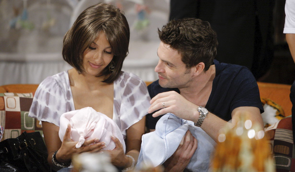 "Christel Khalil, Daniel Goddard ""The Young and the Restless"" twins lily cane ss"