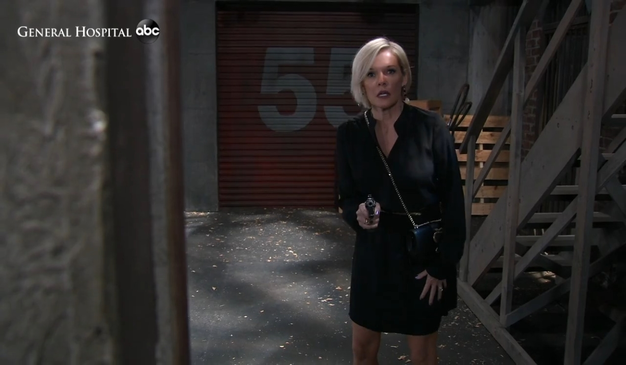 Ava pulls a gun on the docks General Hospital