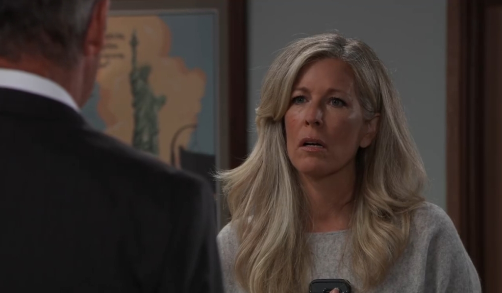 Carly and Ned talk Olivia at Turning Woods General Hospital