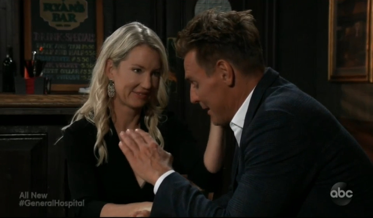 Nina and Jax talk about her mom at Ryan's Bar in New York General Hospital